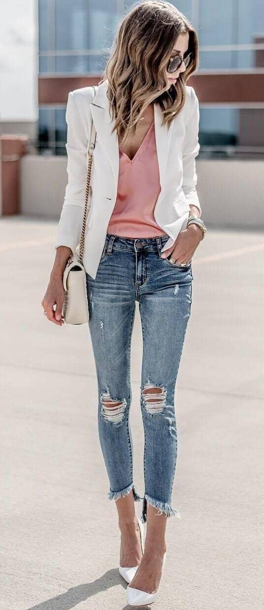 Styling Blazers With Distressed Jeans