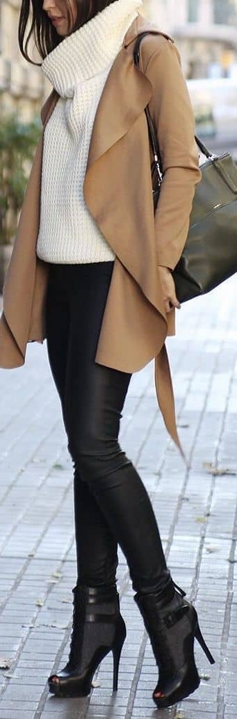 Cowl Neck Sweater with Latte-colored Jacket and Leather Leggings