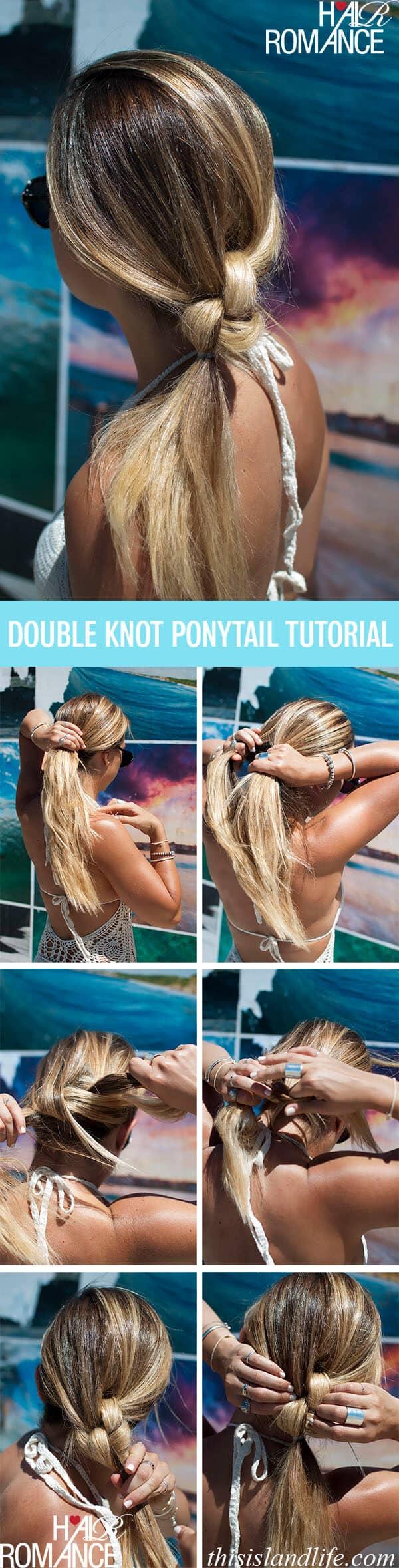 Unique Double Knot Ponytail Idea