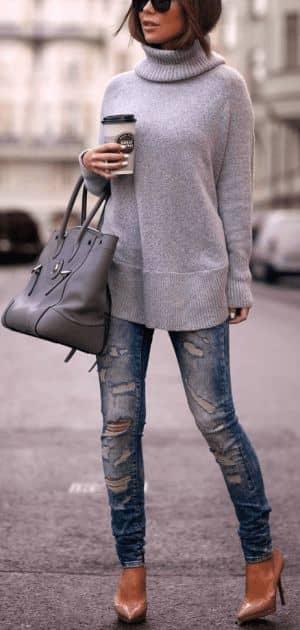 Stone Gray Turtleneck in Tunic Fashion
