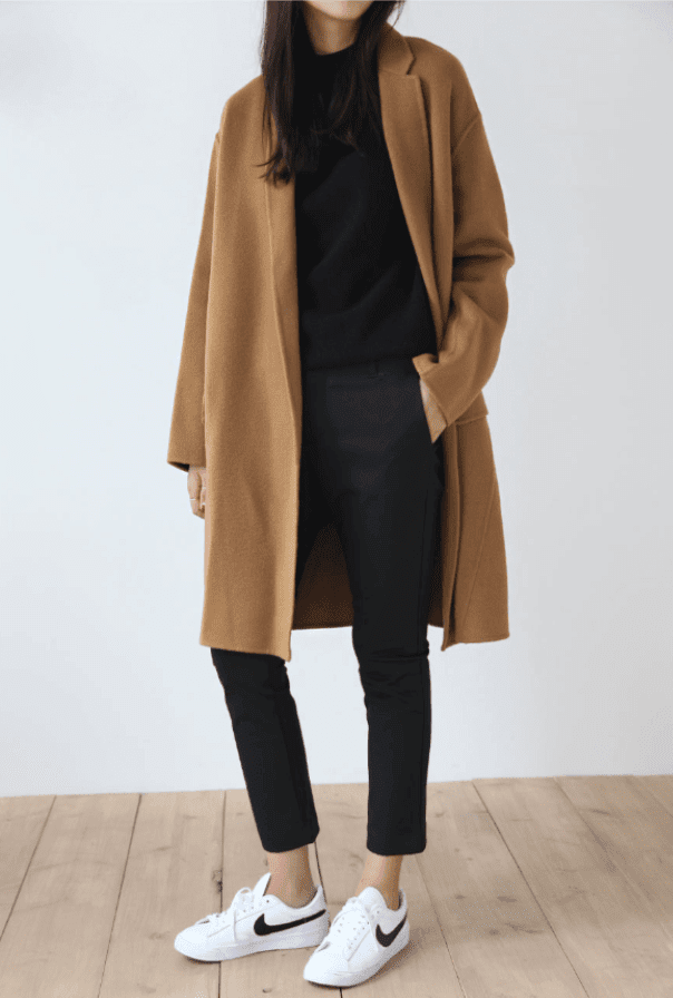 Simple, Black, White, Camel Coat