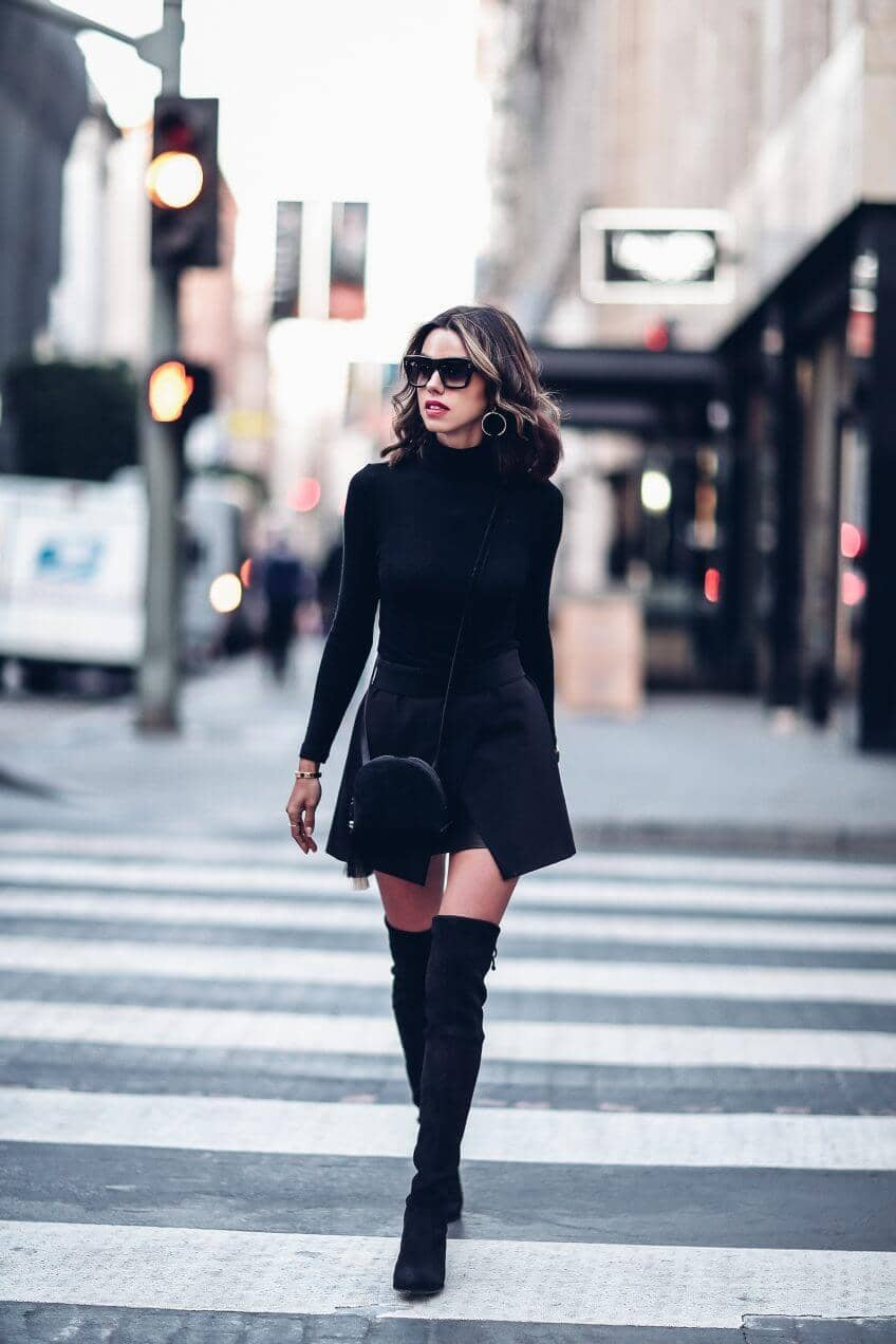 Black Strides in Black Thigh High Boots