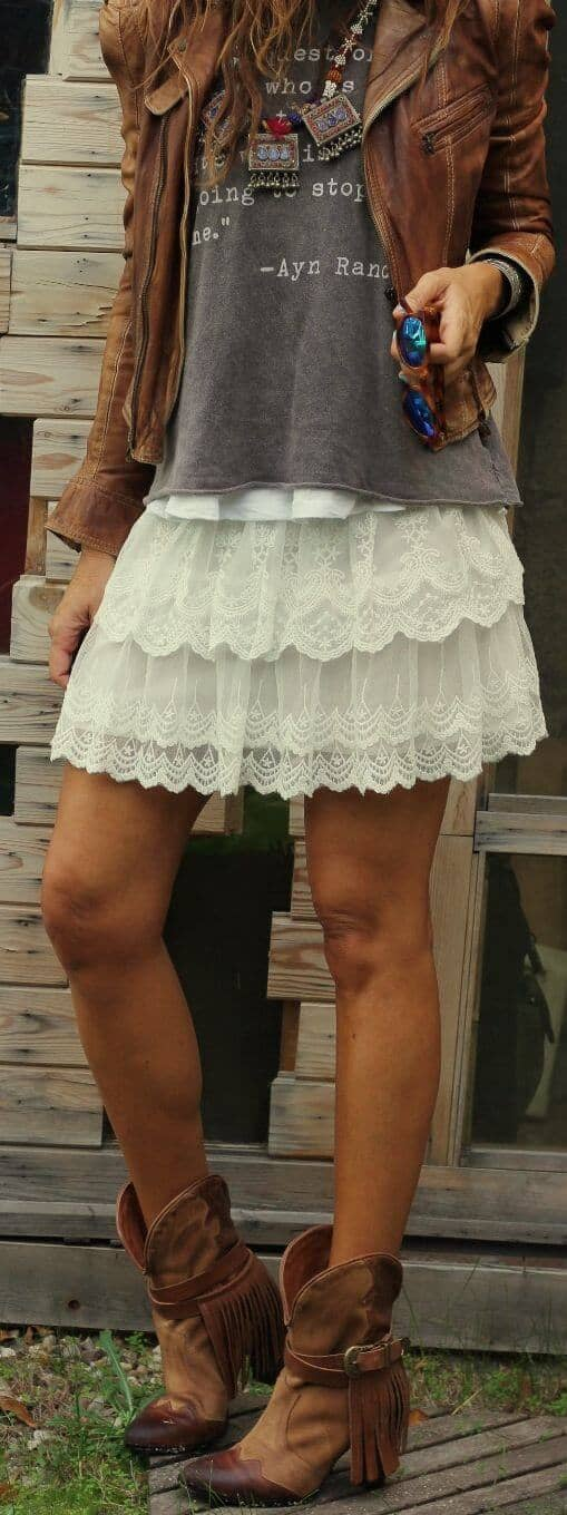 Lace Mini Skirts And Worn Out T-shirts