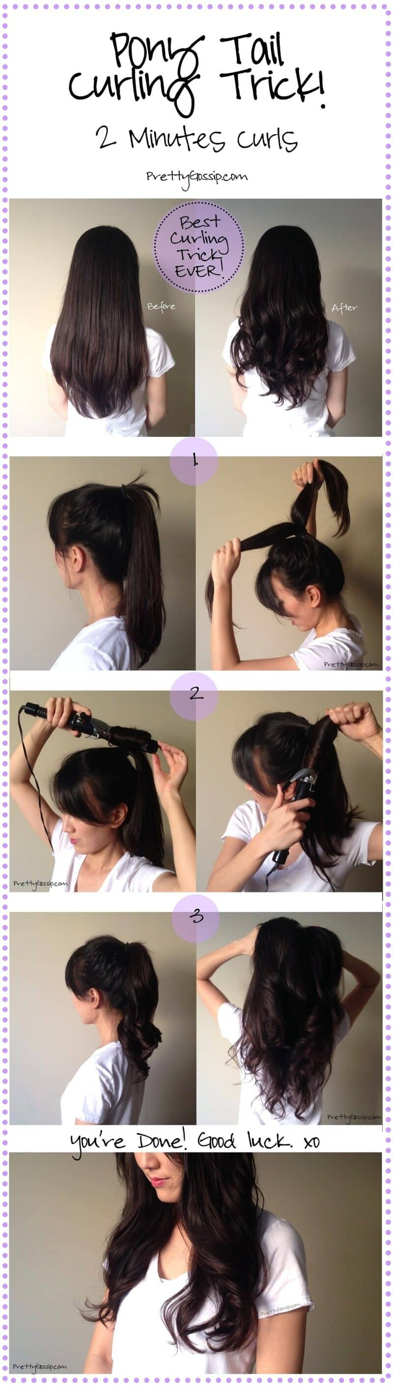 Easy Ponytail Hair Curling Trick