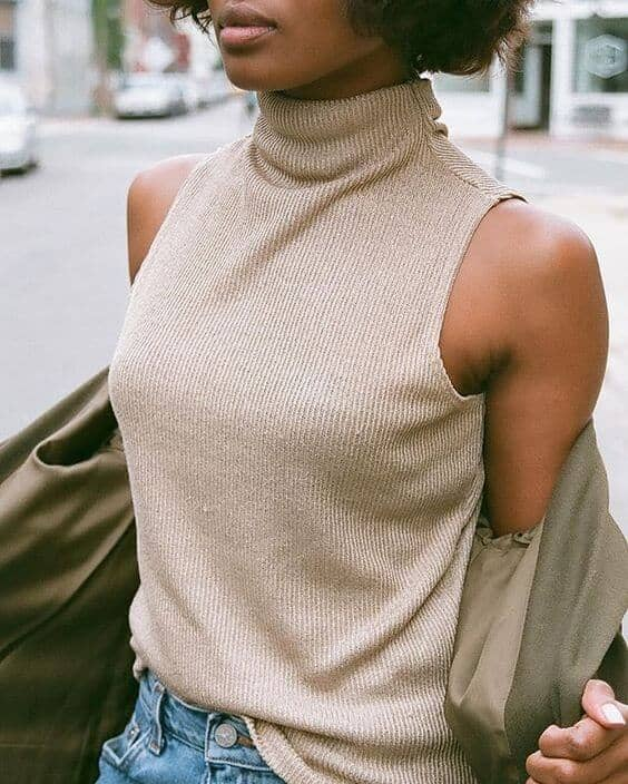Taupe Turtleneck Shell