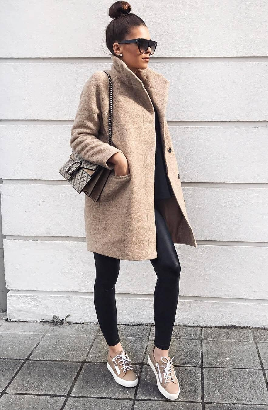 Taupe Pea-coat Complimented By Taupe Sneakers