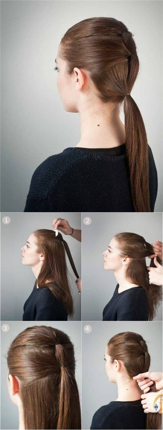 Triple Low Ponytail For Long Hair