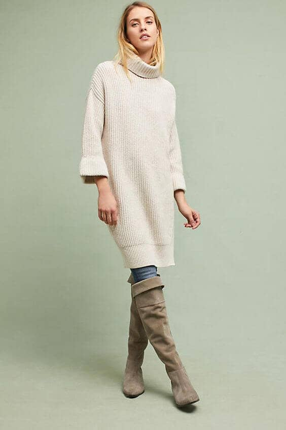 Oatmeal Dress with 3/4 Length Flounce Sleeve
