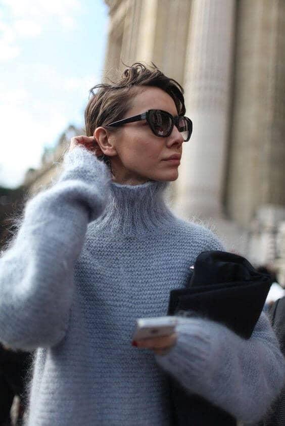 Soft Gray Angora-like Sweater