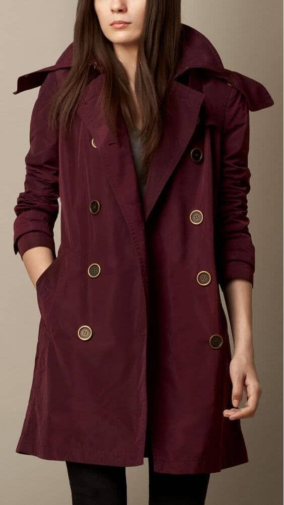 Bold, Burgundy Trenchcoat With Metal Hardware