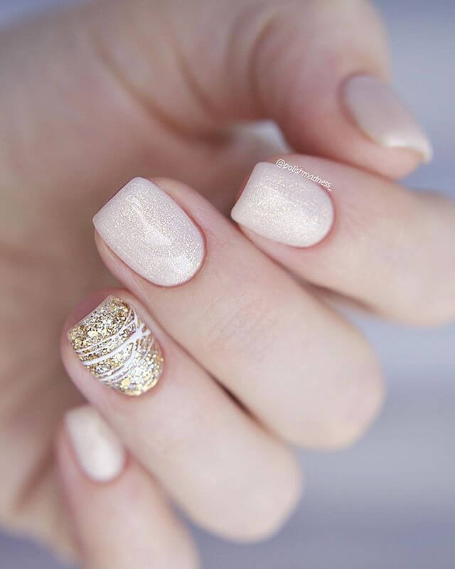 Shimmery Nude and Glittery Gold