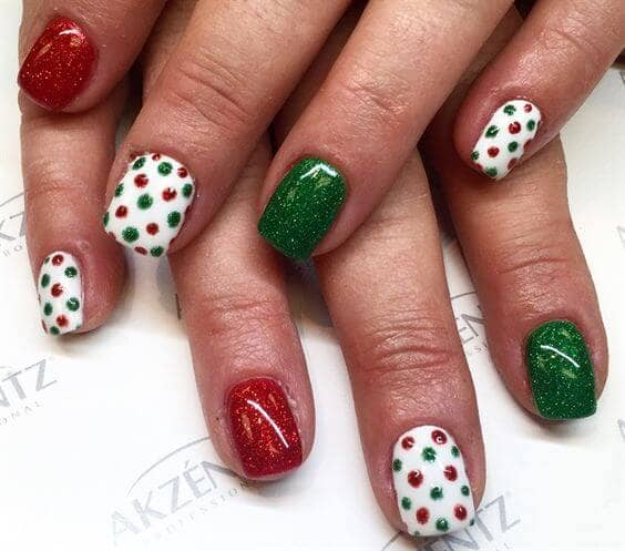 Green And Red Glitter And Polka Dots
