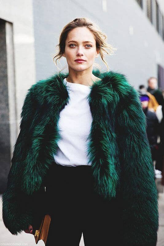 Cropped Emerald Coat, Black Pants, White Tee