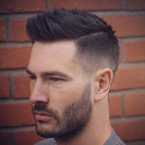 Light Fade With Spiky Top, Connected Beard