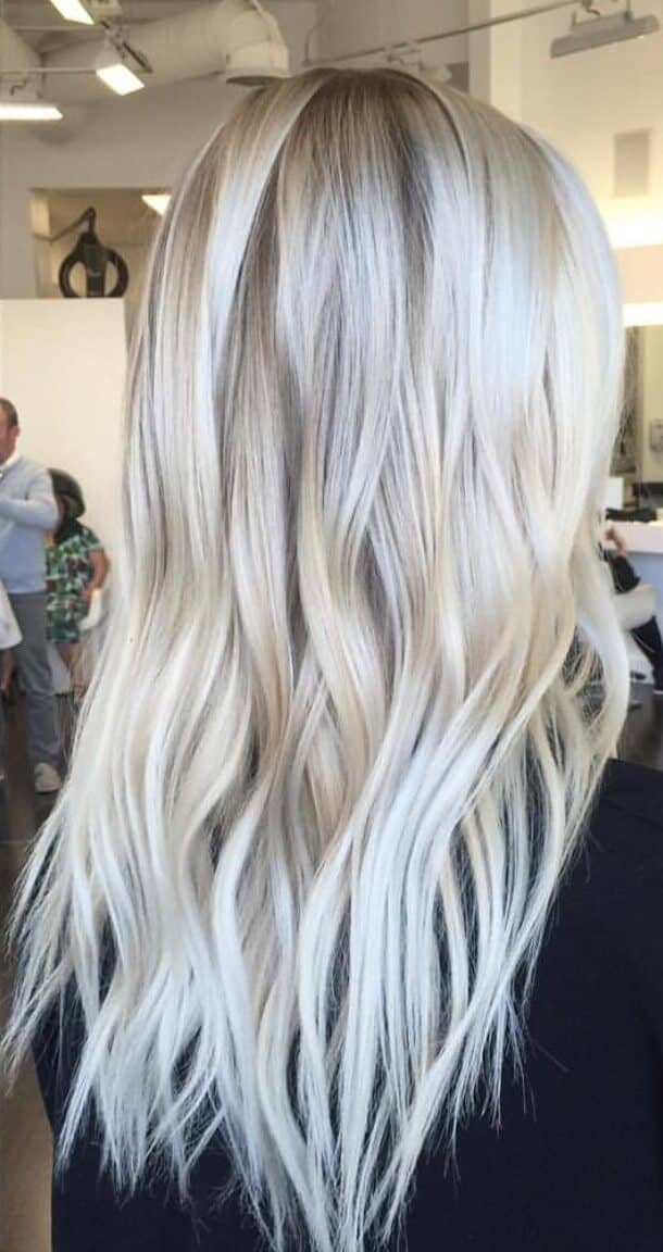 Long Honey to Ice Blonde Haircolors
