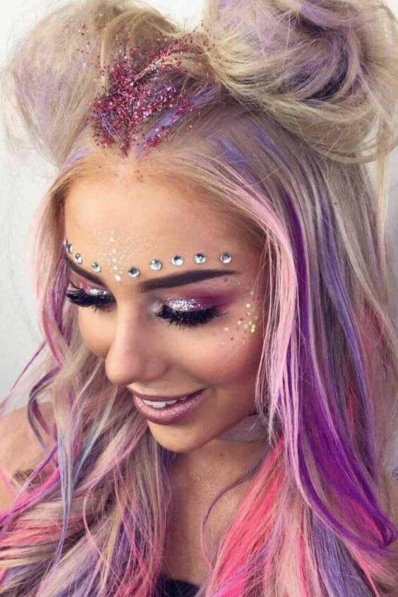 Pink/purple Palette With Glitter And Gems