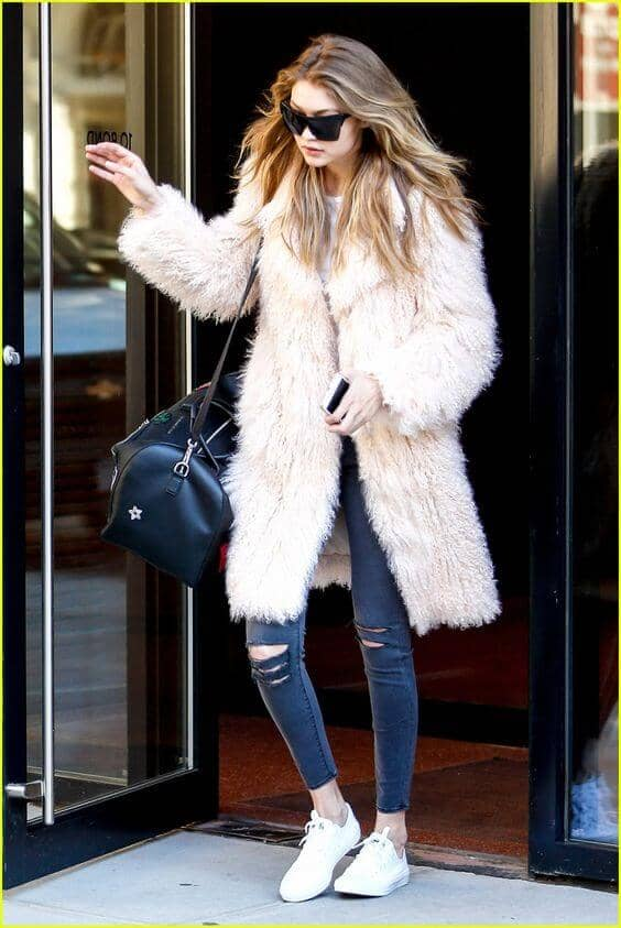 Knee-length Crimped Blush Fur With Jeans