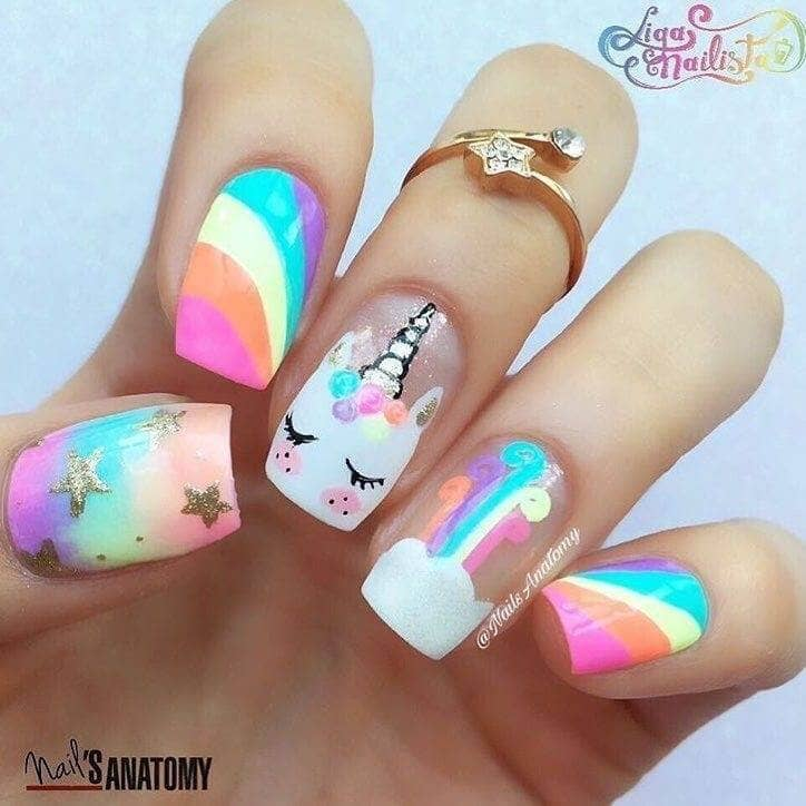 4) Bright Rainbow And Unicorn Nail Art - 50 Magical Unicorn Nail Designs You Will Go Crazy For