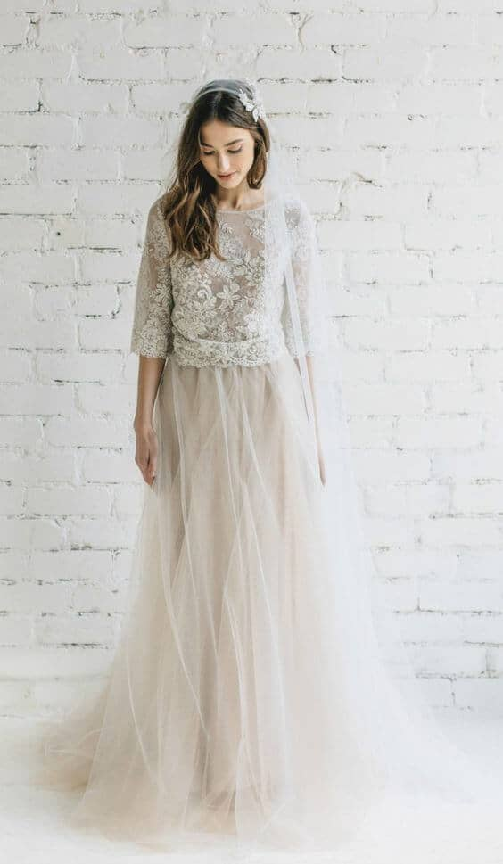 Champagne Dress with Lace Bodice