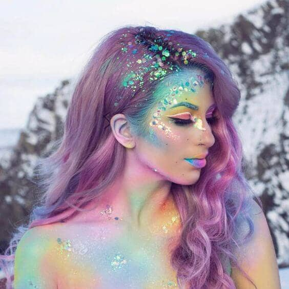 Pastel Rainbow Body Paint With Glitter