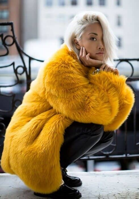 Yellow Oversized Coat, Black Leather Leggings