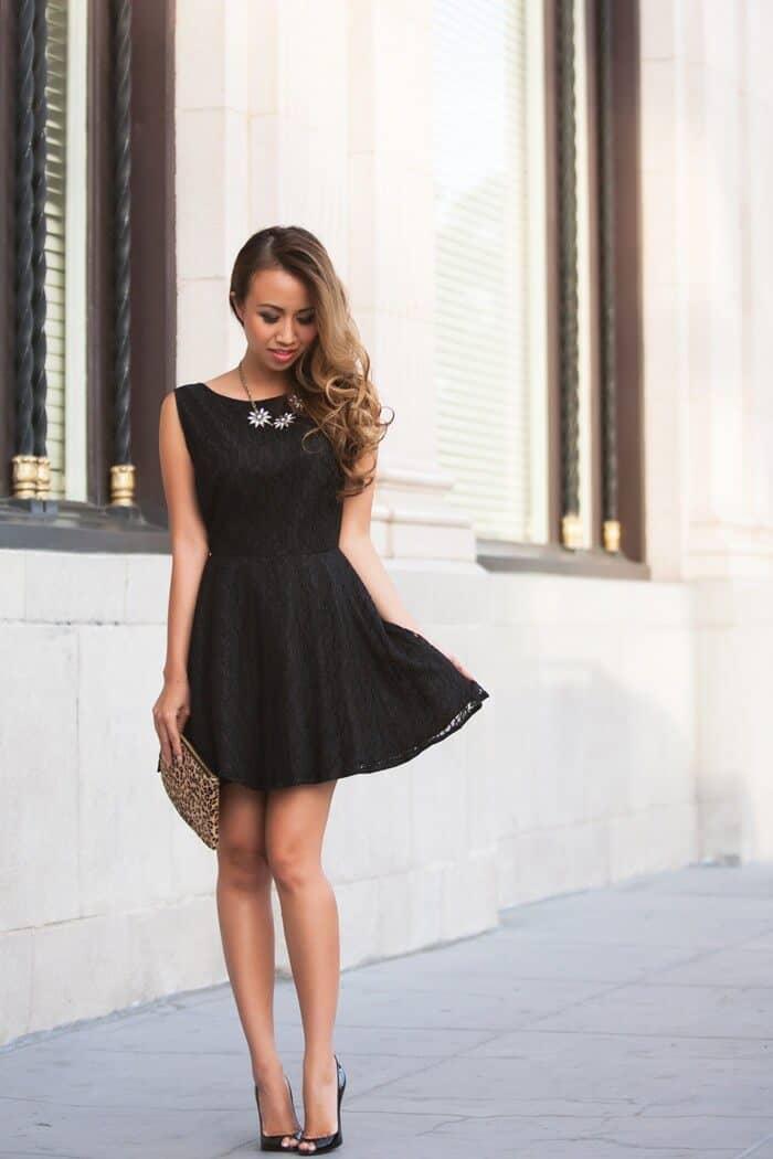 Sweetheart Black Lace Swing Dress