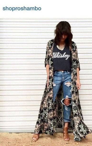 Feminine Floral Floor Length Duster