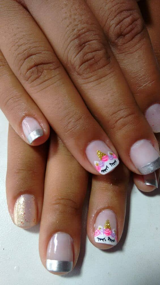 8) Silver-tipped French Manicure With Unicorn Art - 50 Magical Unicorn Nail Designs You Will Go Crazy For