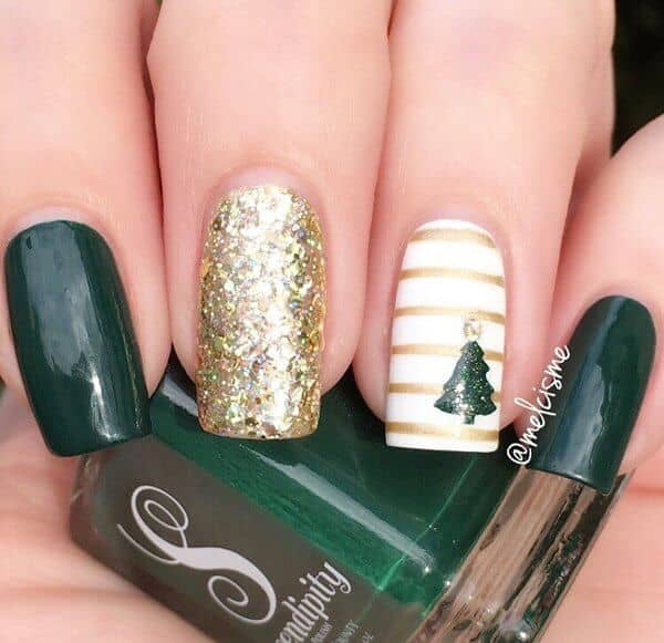 Deep Green, White, And Glittery Gold