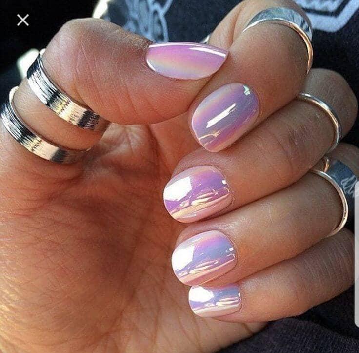 Pastel Pink Iridescent Chrome Polish