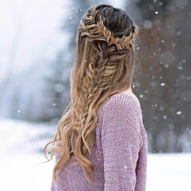 Side Fishtail Braid Combo Crown