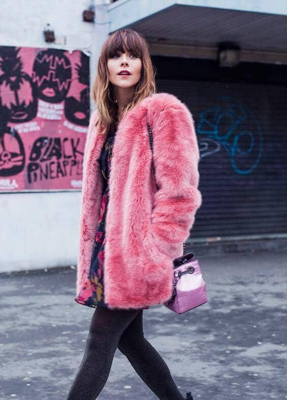 Rose Pink Faux Fur With Floral Dress