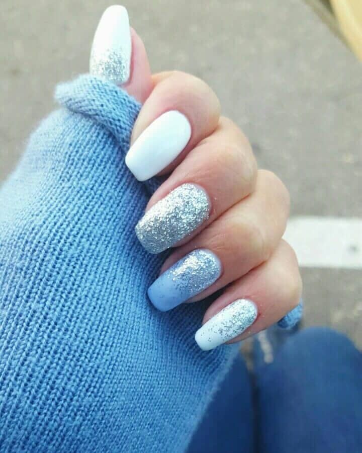 White And Ice Blue With Silver Glitter