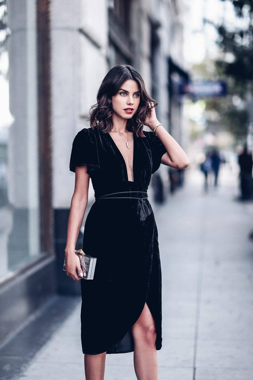 Dramatic Black Velvet Wrap Dress