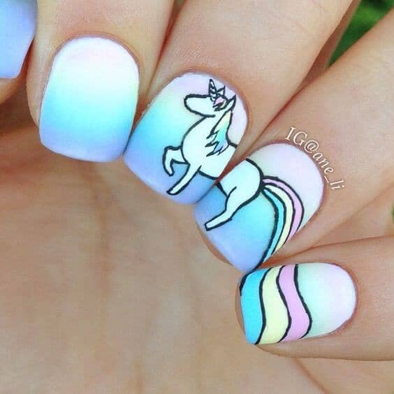 Pastel Rainbow Gradient With Unicorn Art