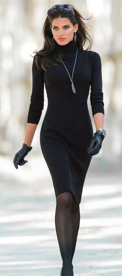 Accessorizing a Body Con Turtleneck Dress