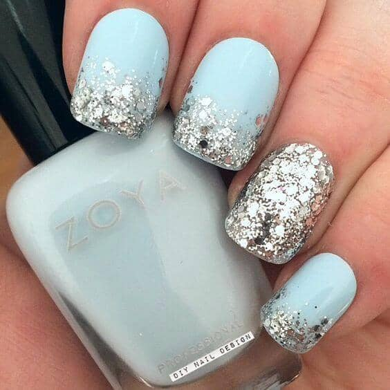 Ice Blue With Silver Glitter Ombre And Accent Nail