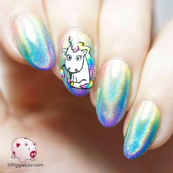 Glittery Iridescent Pastel Polish With Accent Art