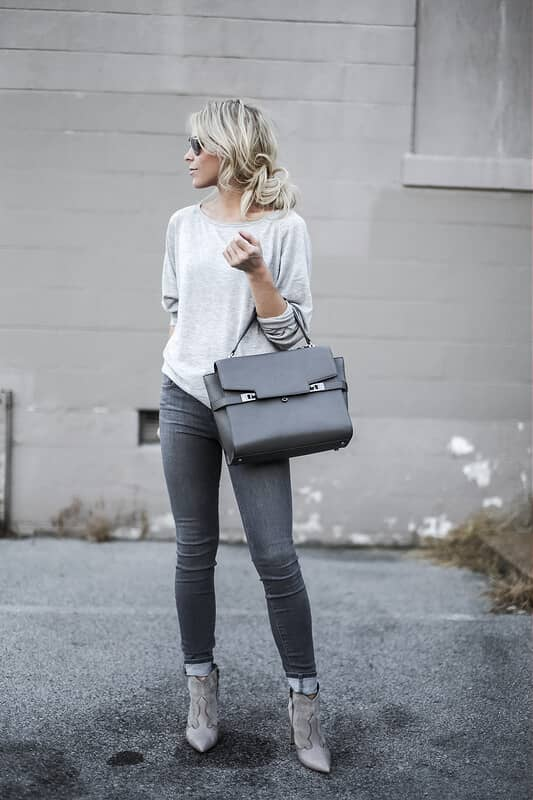 Grey Booties Complete The Look