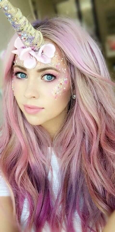 Pastel Pink Lips And Eyes With Glitter