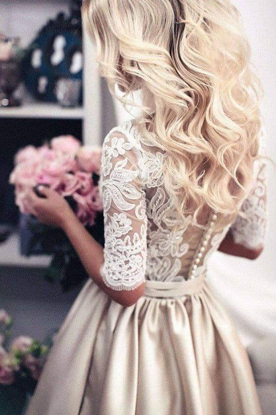 Lace and Satin Dress with Buttons