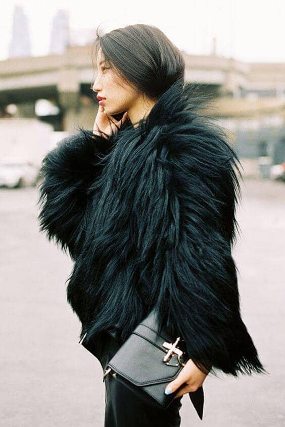 Black Cropped Faux Fur Jacket