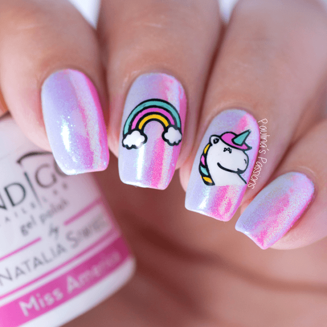 14) Iridescent Pink With Rainbow And Unicorn Art - 50 Magical Unicorn Nail Designs You Will Go Crazy For