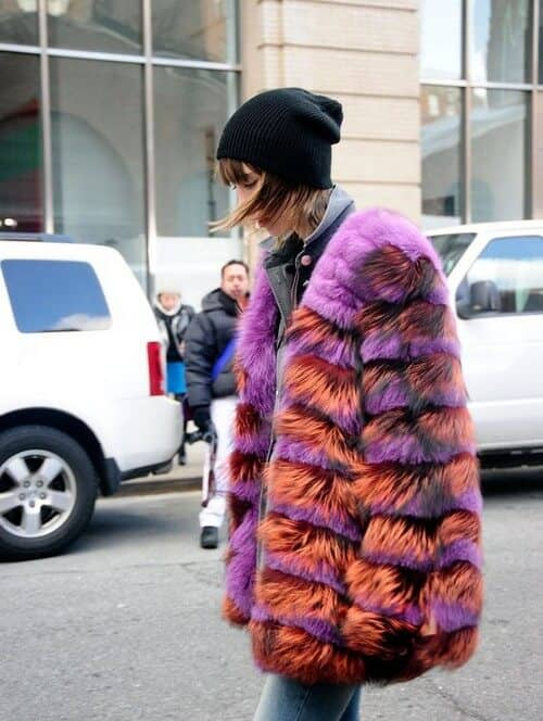 Tangerine And Magenta Ombre Faux Fur