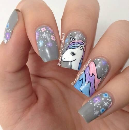 Grey With Unicorn Art Design