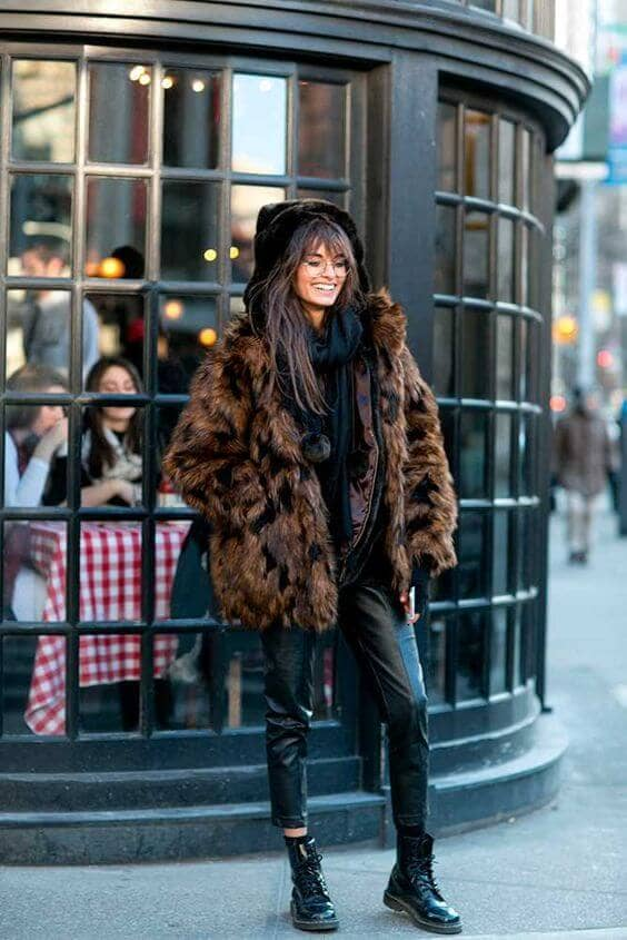 Brown Animal Print Oversized Faux Fur
