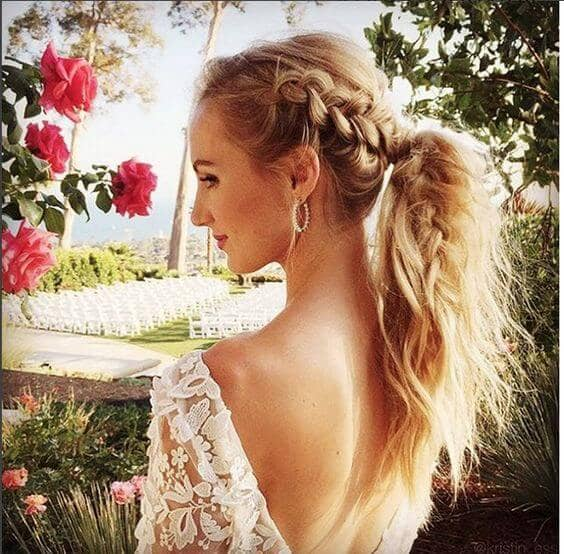 Messy Ponytail With Reverse Braid