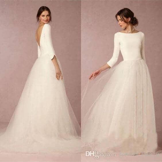 Ballerina-Inspired Long Wedding Dress