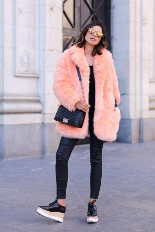 Pastel Neon Pink Fur Over Black Pants And Top