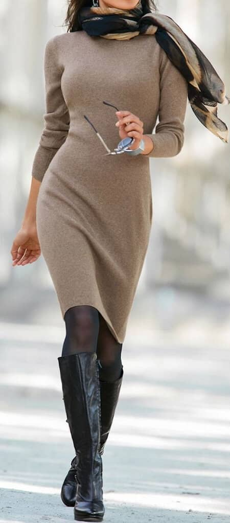 Sexy but Sophisticated Sweater Dress Ensemble